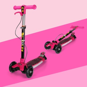 BULEX Foldable 3-Wheel Kids Kick Scooter with Music Light for 2-13 Years Old (D-3700) - Rose