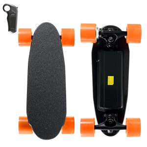 Mini Backpack Size 4 Wheels Electric Skateboard Wireless Remote Control (CE/ROHS/FCC) - Yellow Wheel / US Plug