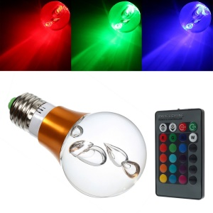 Gold Crystal Ball IP45 E27 3W 150Lumens RGB Light Bulb LED Lamp w/ IR Remote Controller