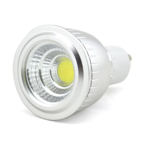 GU10 3W AC 85V-265V COB Dimmable LED Spot Lamp Light Cup Glass Silver Shell - Warm White