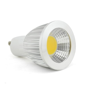 GU10 7W COB 60 Degree Dimmable Spot Lamp Bulb Silver Shell AC 85-265V - Warm White