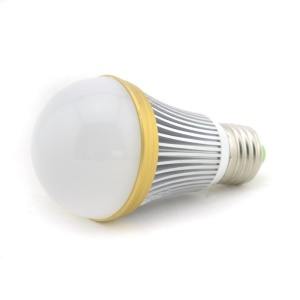 Dimmable E27 7-LED 7W 180 Degree LED Lamp Bulb Silver Shell with Golden Ring - Cool White