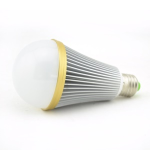 Dimmable E27 9-LED 9W 180 Degree LED Lamp Bulb Silver Shell with Golden Ring - Warm White