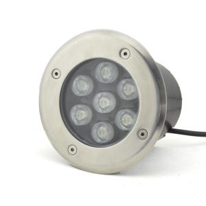 Waterproof 7W 7-LED 60 Degree Underground Garden Buried Lamp Black Shell - Warm White