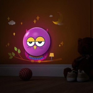 Light Controlled Owl Shaped DIY 3D LED Night Light Bedroom Wall Lamp w/ Wall Sticker