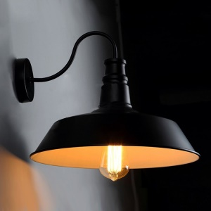 Vintage Metal Wall Lamp Sconce Light Cafe Kitchen Restaurant Pendant Light - Black