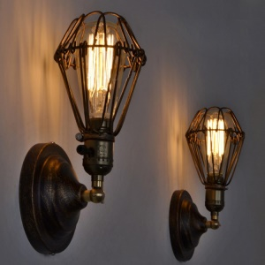 Retro Industrial Style Cage E27 Metal Wall Sconces Light, Size: F10 x 19cm
