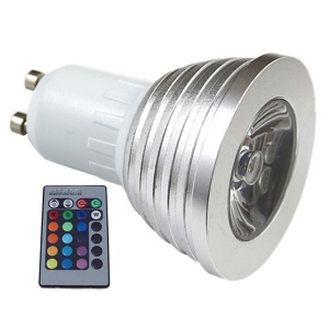 Silver Shell Dimmable GU10 3W RGB LED Spot Light Lamp with Remote Control