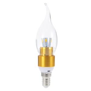 LZ301 E14 3W 360 Degree 5730 Tail LED Candle Bulb Light Gold Shell - Warm White