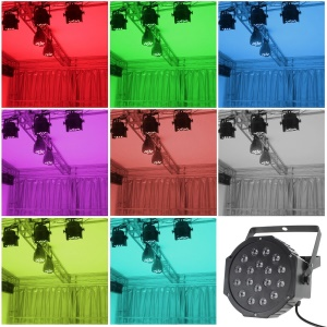 18 x 1W RGB LED Flat Par LED Par Light DMX 7ch Master/slave for Dj Bar Disco Home Party