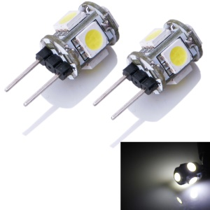 2X JMT-090 G4 1.4W 5x5050SMD 80lm LED Bi-Pin Lamp (DC 12V) - White (6000-6500K)