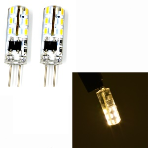 One Pair G4 2W SMD 3014 24-LED Light Bulb AC 220V - Warm White