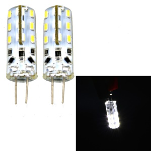 One Pair G4 2W SMD 3014 24-LED Light Bulb DC 12V - White