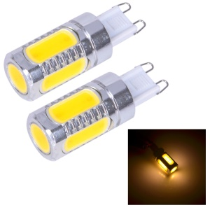 One Pair G9 7.5W 6D 5-LED Light Bulb DC 12V - Warm White