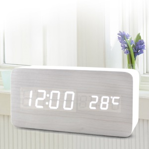 LED Rectangle Voice Control Wooden Alarm Clock Digital Display GG1208
