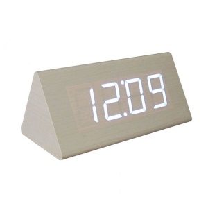Triangle LED Voice Control Wooden Alarm Clock Digital Display GG1207 - Beige