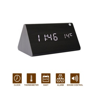 Triangle LED Voice Control Wooden Alarm Clock Digital Display GG1207 - Black