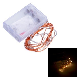 DC 4.5V 0.8W 2m 20-LED Copper String Lights for Holiday Party Art Decoration with Charging Box - Warm White