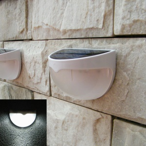 White Waterproof Outdoor Solar Powered Wall Lamp