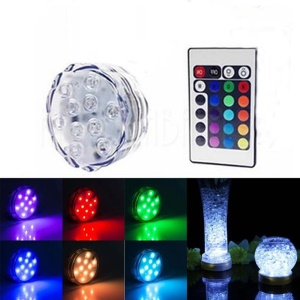 Waterproof 10-LED Color Submersible Light with Remote Control for Vase Decoration