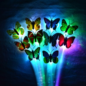 12Pcs/set Glowing Butterfly LED Hair Barrette Braid for Party Night Club