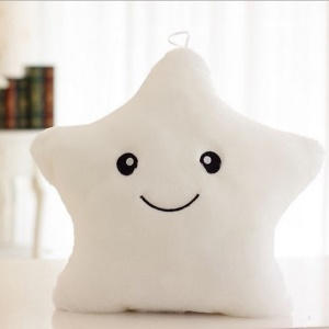 Star Shaped Glowing LED Plush Pillow 7-color Changing (Slap-to-Light-on) - White