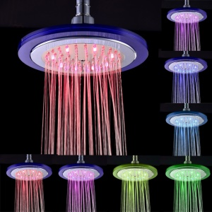 LD8030-C4 8 inch Round Shape 8-LED Shower Head - 7 Colors Light