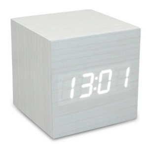Square Shape Sound Control Wooden Alarm Clock Digital LED Display GG507