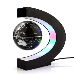 High Rotation Magnetic Suspension Maglev Levitation Globe with LED Lights - Black / EU Plug