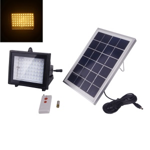 YJ-2338B Remote Control 60-LED Solar Powered Outdoor Flood Light Waterproof 5W 3.7V - Warm White