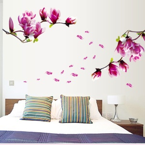 Encantadora flor de magnólia PVC Wall Sticker Home Room Furniture Decoration