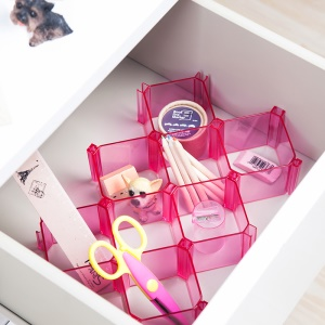 6 Pcs Honeycomb Acrylic Eight Squares Design Organizer Box Cosmetics Organizer Makeup Storage Case, Size: 8 x 8 x 6cm - Rose