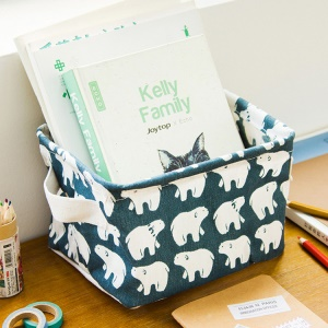 Creative Dustproof Cotton and Linen Storage Case with Handle High Quality Storage Bin - Polar Bear