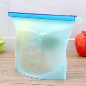 Reusable Silicone Preservative Bags Vacuum Food Sealer Storage Bag, Size: 28 x 22cm - Blue