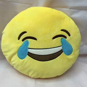 Emoji Emoticon Yellow Round Cushion Pillow Stuffed Plush Toy Doll, Size: 35 x 35cm - Laugh to Tears