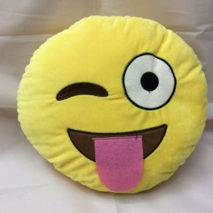 Yellow Round Emoji Emoticon Cushion Pillow Stuffed Plush Toy Doll, Size: 35 x 35cm - Tongue