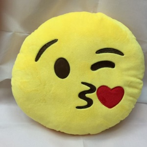 Emoji Emoticon Cushion Pillow Stuffed Plush Soft Toy, Size: 35 x 35cm - Kiss Face