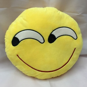 Emoji Smiley Emoticon Cushion Pillow Stuffed Plush Toy Doll, Size: 35 x 35cm - Treacherous