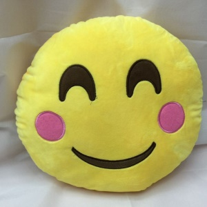 Emoji Smiley Emoticon Cushion Pillow Stuffed Plush Toy Doll, Size: 35 x 35cm - Be Shy