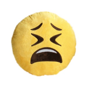 Yellow Emoji Emoticon Cushion Pillow Stuffed Plush Toy Doll, Size: 35 x 35cm - Crying