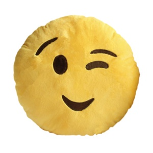 Emoji Emoticon Yellow Round Cushion Pillow Stuffed Plush Soft Toy, Size: 35 x 35cm - Wink