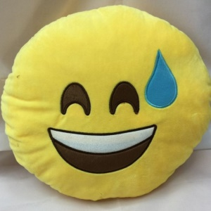 Stuffed Plush Toy Doll Emoji Emoticon Cushion Pillow, Size: 35 x 35cm - Sile with Sweat