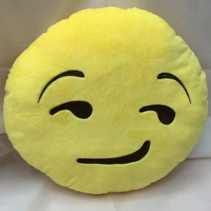 Stuffed Plush Toy Doll Yellow Round Emoji Emoticon Cushion Pillow, Size: 35 x 35cm - Strange smile