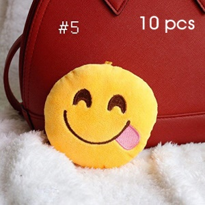 10Pcs/Set 10cm QQ Emoji Plush Stuffed Toy Hanging Decorations - Lovely Smile