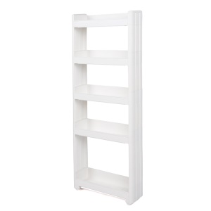 Thick Space Saving Storage Organizer Movable 5-layer Tower Rack without Top Cap Cover - White
