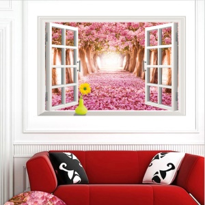 3D Window View Sakura Paradise PVC Wall Stickers Mural Decal Wallpaper Home Decoration