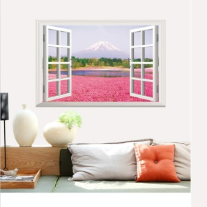 3D Window View Flower and Fujiyama PVC Wall Sticker Mural Decal Wallpaper Home Decoration