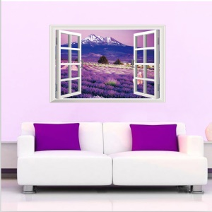 3D Window View Lavender Flowers PVC Wall Sticker Mural Wallpaper Decal Home Decoration