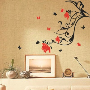 Borboletas e Vine Home Wall Decor Decals Sticker, porte: 86 x 63cm