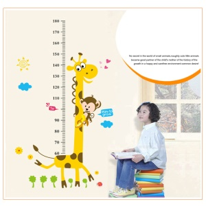 Large Monkey and Giraffe Kids Height Growth Chart Wall Sticker Decor Removable for Nursery Baby Bedroom